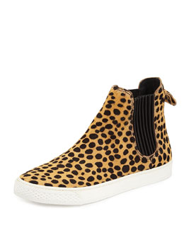 Crosby Cheetah-Print Calf Hair High-Top Sneaker
