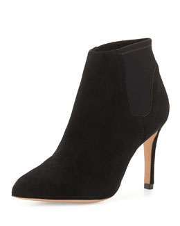 Val Neoprene-Inset Suede Ankle Boot
