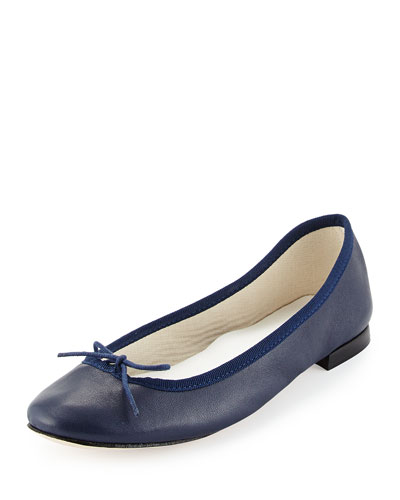 Camille Napa Bow-Detailed Ballet Flat, Navy