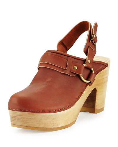Whiskey Halter-Trimmed Leather Clog