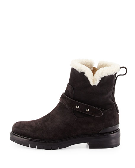 Ashford Shearling Fur-Lined Suede Ankle Boot