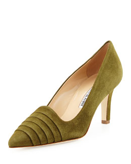 Thessa Suede Pleated Point-Toe Pump