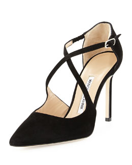 Umice Suede Crisscross Point-Toe Pump
