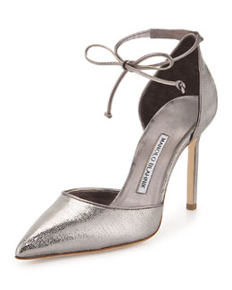Leyan Crackled Metallic D'Orsay Ankle-Wrap Pump, Anthracite
