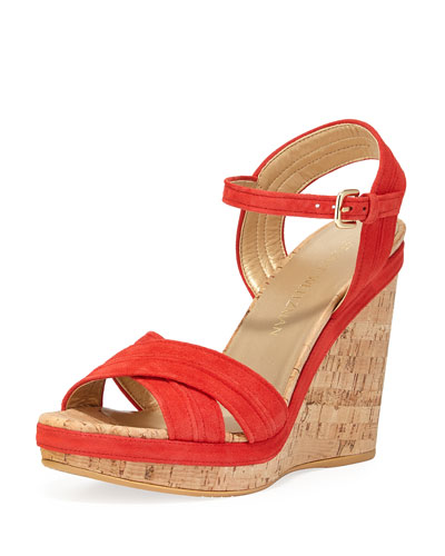 Minky Cork Wedge Sandal, Pimento