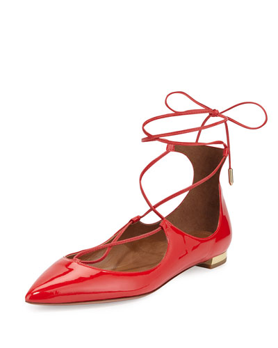 Christy Lace-Up Point-Toe Flat, Lipstick