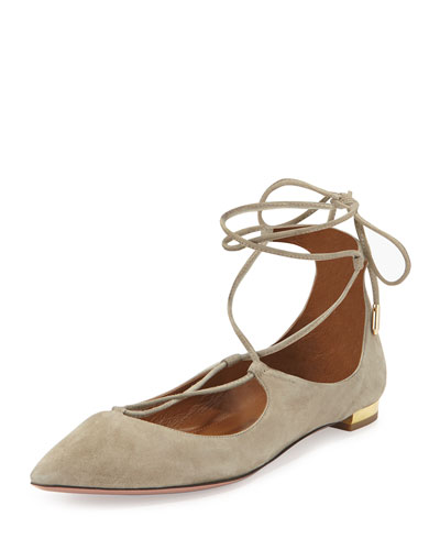 Christy Lace-Up Point-Toe Flat, Khaki Green