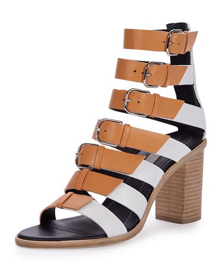 Buckled Leather Gladiator Sandal, White/Beige