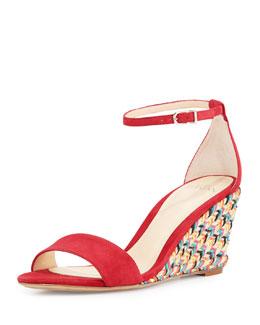 Suede Espadrille Wedge Sandal, Azalea/Multi