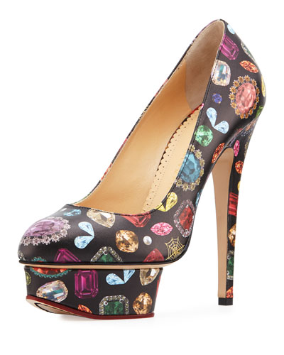Dolly Jewel-Print Platform Pump, Black