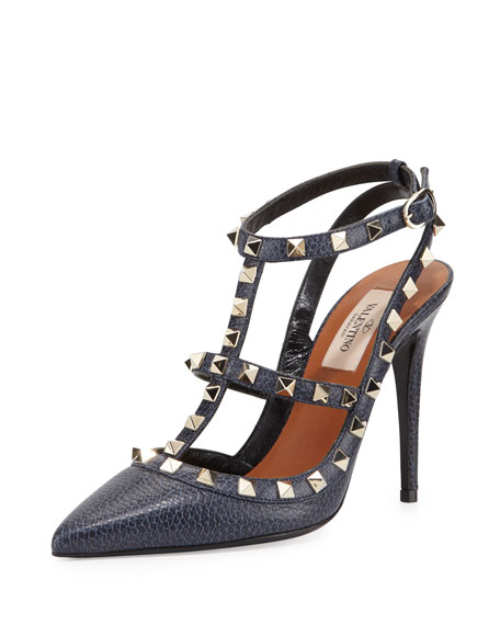 Pebbled Leather Rockstud Sandal, Deep Denim