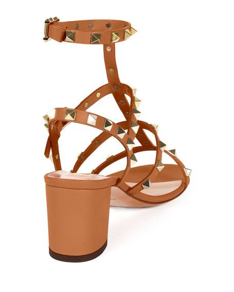 Rockstud Leather City Sandal, Light Cuir