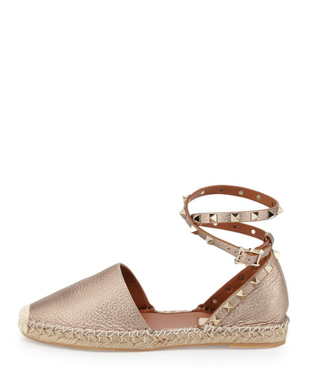 Rockstud Leather Ankle-Wrap Espadrille, Skin