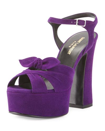 Candy Suede Platform Sandal, Dark Violet