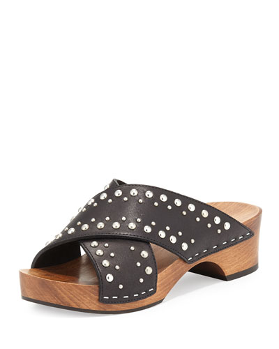 Studded Leather Clog Slide, Black