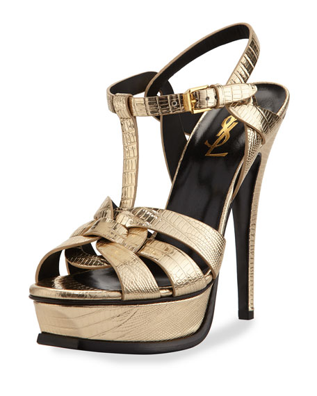 61ed0b4a3f2 Saint Laurent Tribute Metallic Leather Platform Sandal, Platino