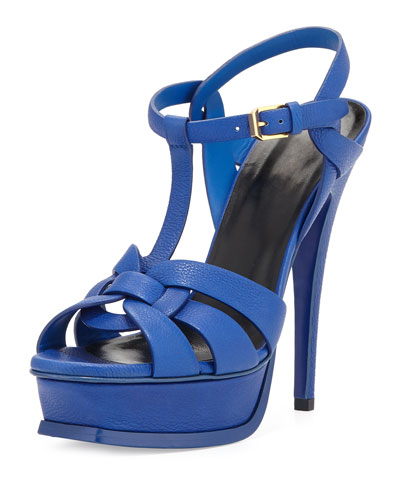 Tribute Leather Platform 135mm Sandal, Outremer