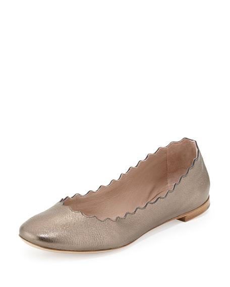 Scalloped Metallic Ballerina Flat, Pewter