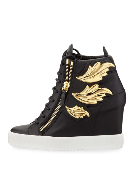 Metallic Wing Leather High-Top Wedge Sneaker, Black (Nero)