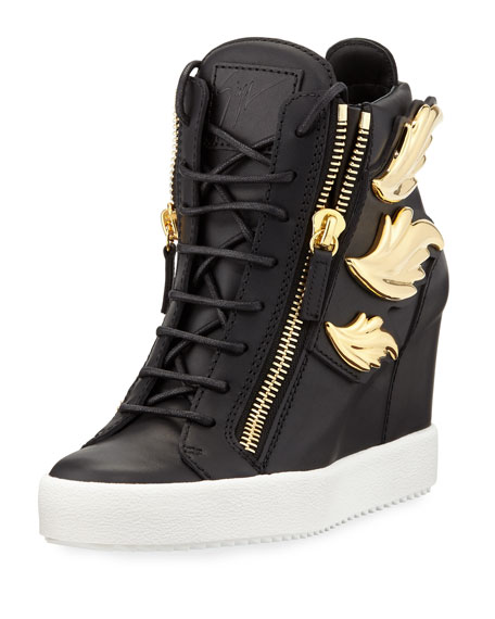 Giuseppe Zanotti Metallic Wing Leather High-Top Wedge Sneaker,