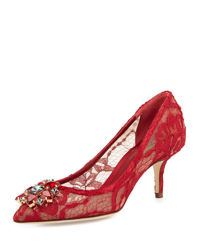 Jewel-Embellished Lace Pump, Red