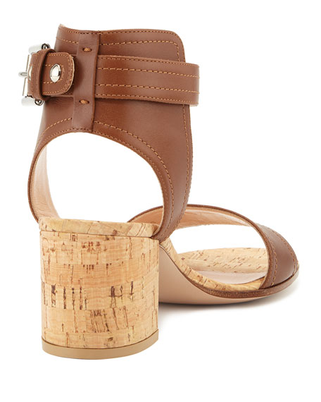 Leather Cork Block-Heel Sandal, Luggage