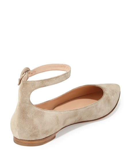 Suede Ankle-Wrap Skimmer Flat