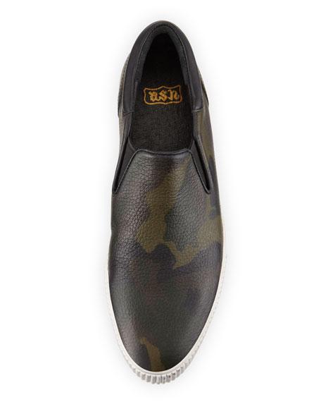 Karma Camo-Print Slip-On Sneaker, Dark Green