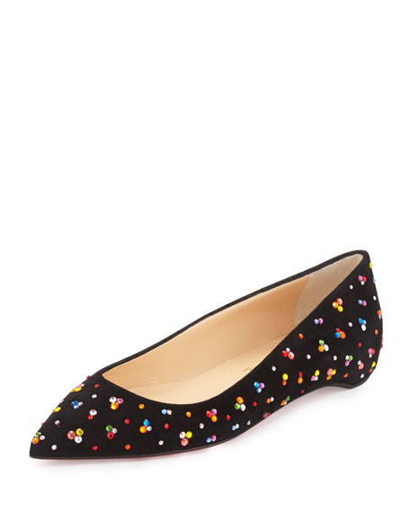 Christian Louboutin Mix Patent Knotted Red Sole Ballerina Flat, Black