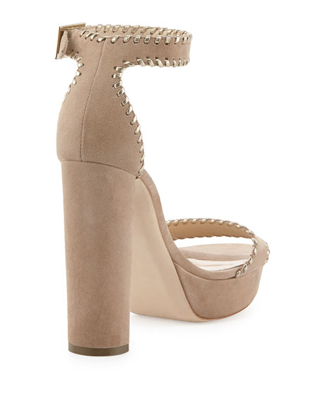 Holly Suede 120mm Sandal, Nude
