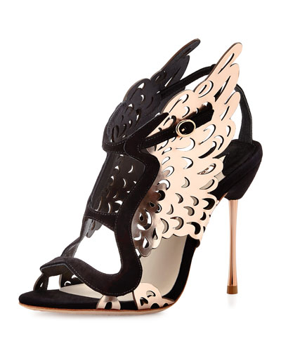 Parisa Laser-Cut Wing Pump, Black/Rose Gold