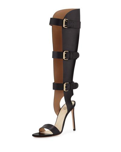 Three-Strap Leather Stiletto Gladiator Sandal, Black (Nero)