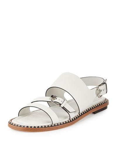 Three-Strap Flat Leather Sandal, White
