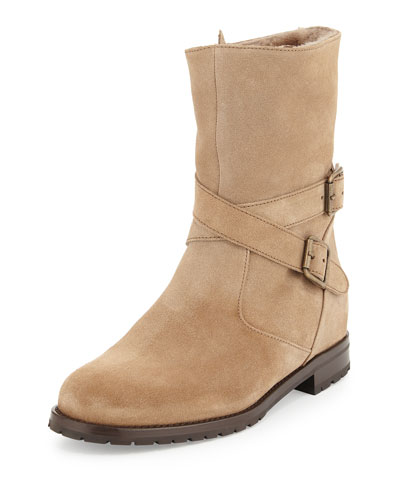Campocross Belted Mid-Calf Boot with Shearling, Beige