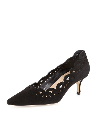 Capdec Laser-Cut Suede Pump, Black