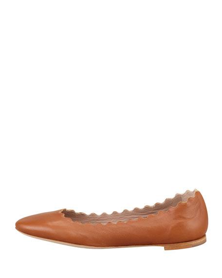 Scalloped Leather Ballerina Flat, Tan