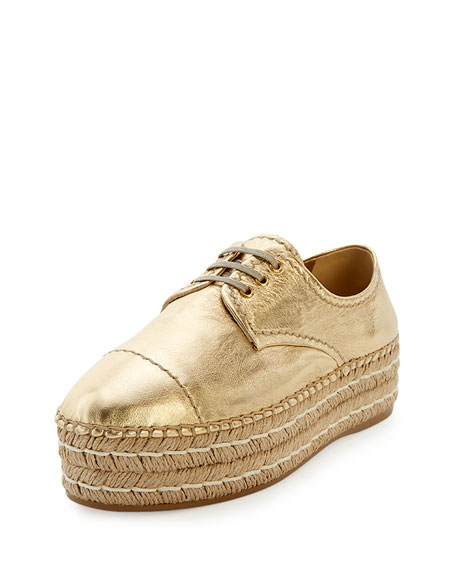 Metallic Lace-Up Espadrille Oxford, Gold