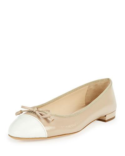 Cap-Toe Saffiano Ballerina Flat, Natural