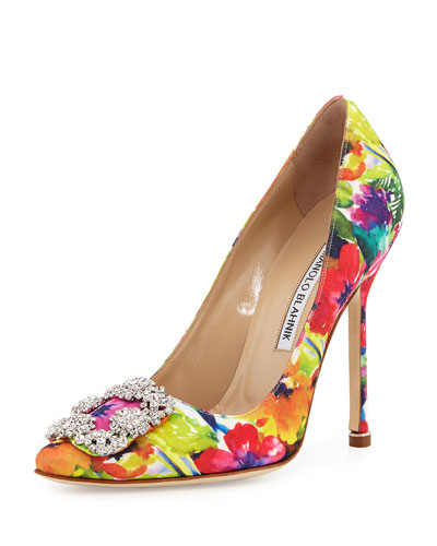 Hangisi Floral-Print 115mm Satin Pump, Multi