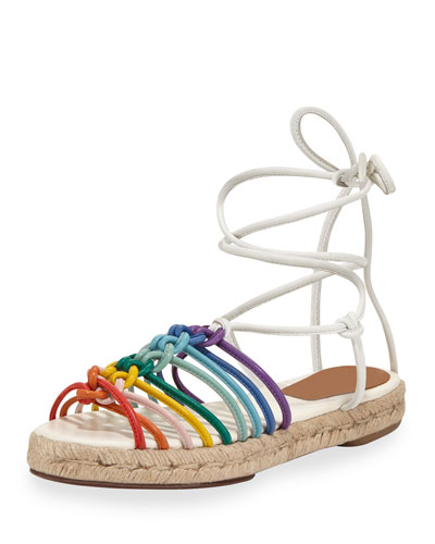 Jamie Rainbow Leather Lace-Up Sandal, Multi
