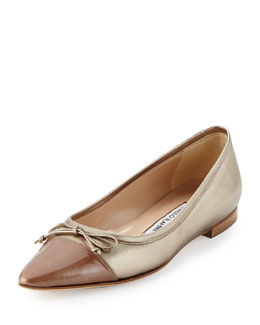Wendy Cap-Toe Leather Skimmer Flat, Gold