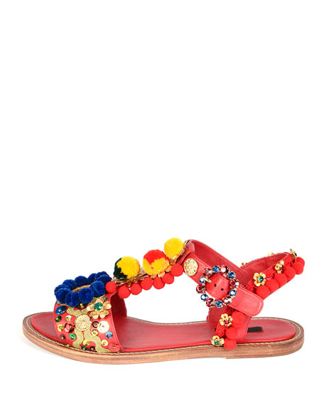 634698eaf Dolce & Gabbana Pompom-Embellished Flat Leather Sandal, Red