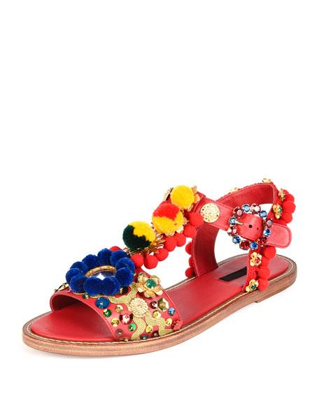Pompom-Embellished Flat Leather Sandal, Red