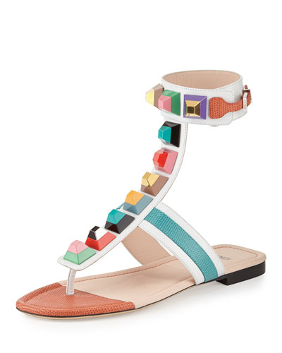 Rainbow Studded Ankle-Wrap Sandal, Black