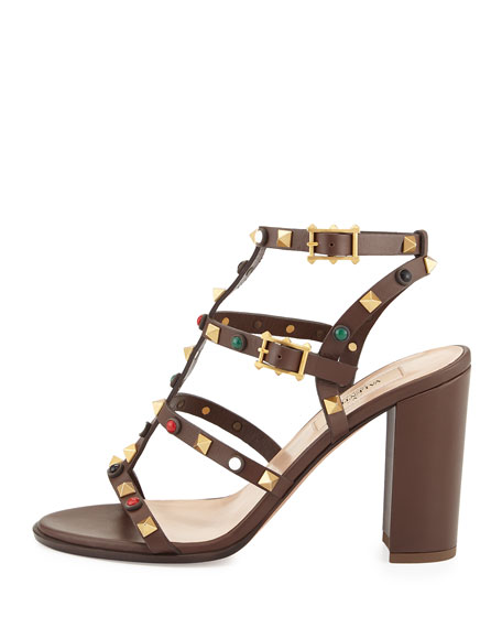 Rockstud Cabochon Leather 90mm Sandal, Brown