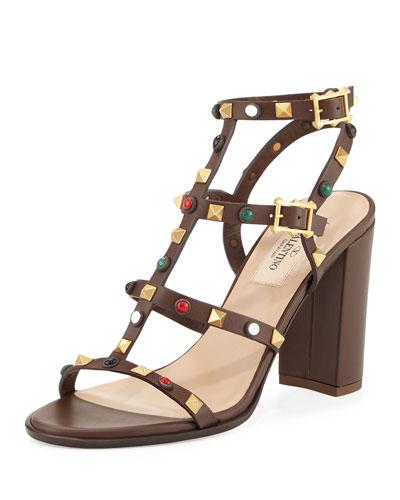 Rockstud Cabochon Leather 90mm Sandal, Brown