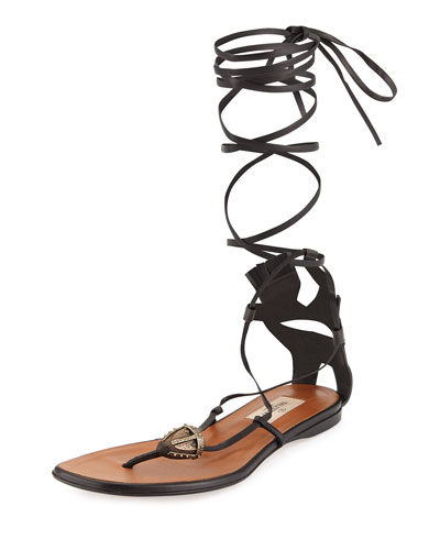Mask-Detail Flat Lace-Up Sandal, Brown/Black (Ebano/Nero)