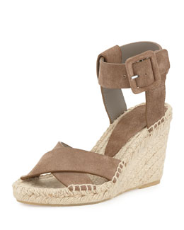 Stefania Leather City Sandal, Pumice