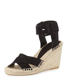 Stefania Suede Espadrille Wedge Sandal, Black