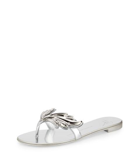 Flame Metallic Flat Thong Sandal, Argento